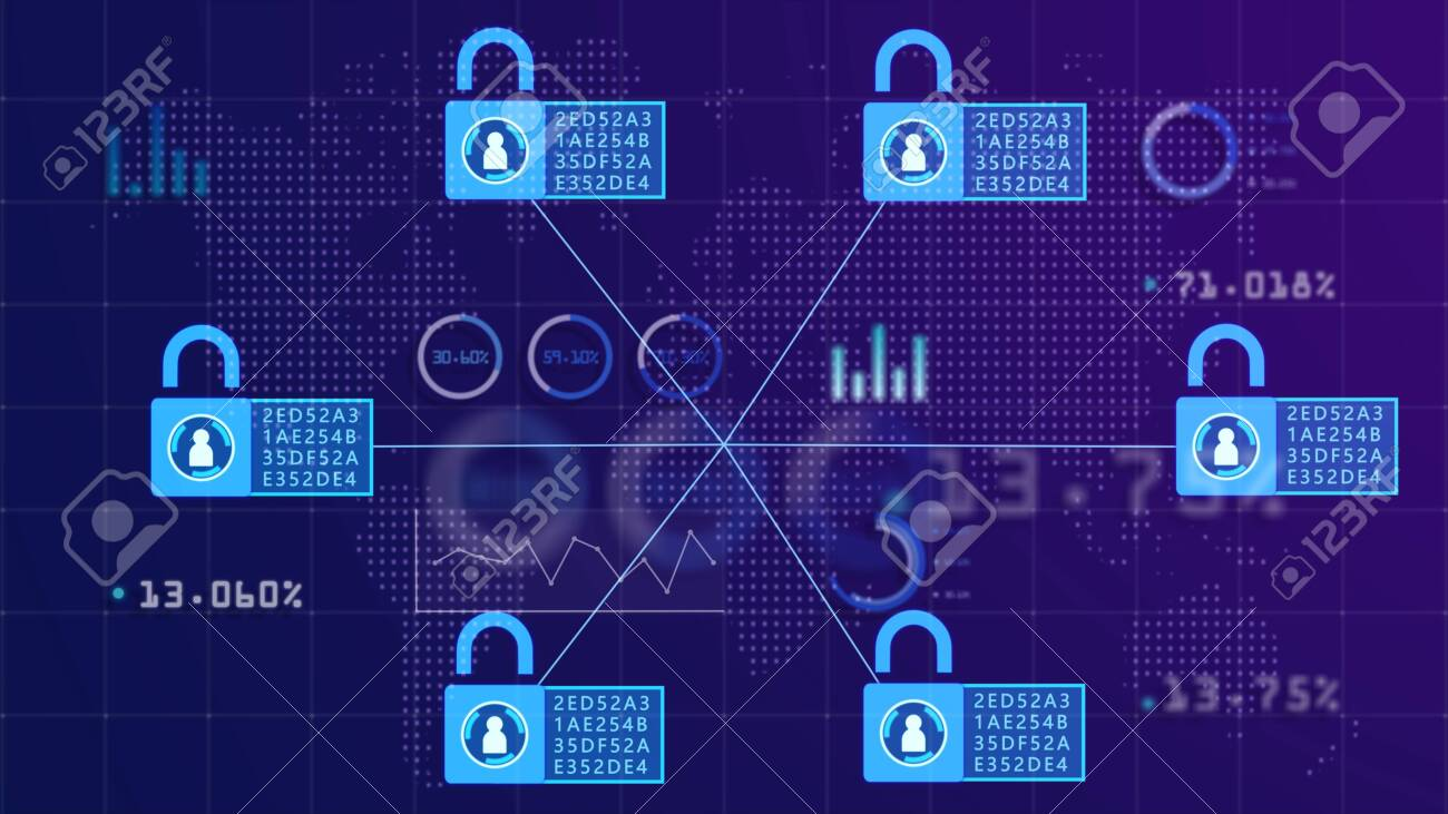 Block chain concept. Abstract patterns of distribution of information to everyone on the network. As a chain of connected information with everyone on the network safely. - 120618885