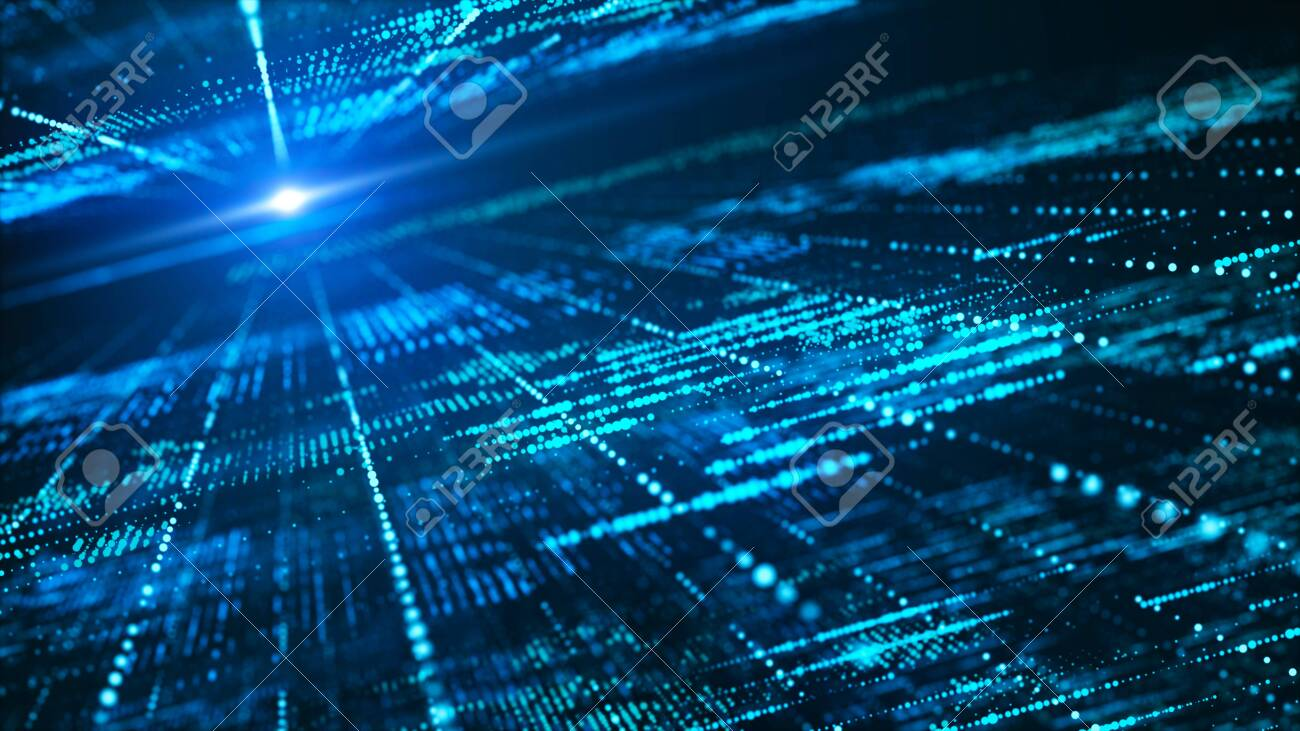 Abstract digital matrix background. Futuristic big data information technology concept. Motion graphic for abstract data center, block chain, server, internet, hi-speed. - 120618907