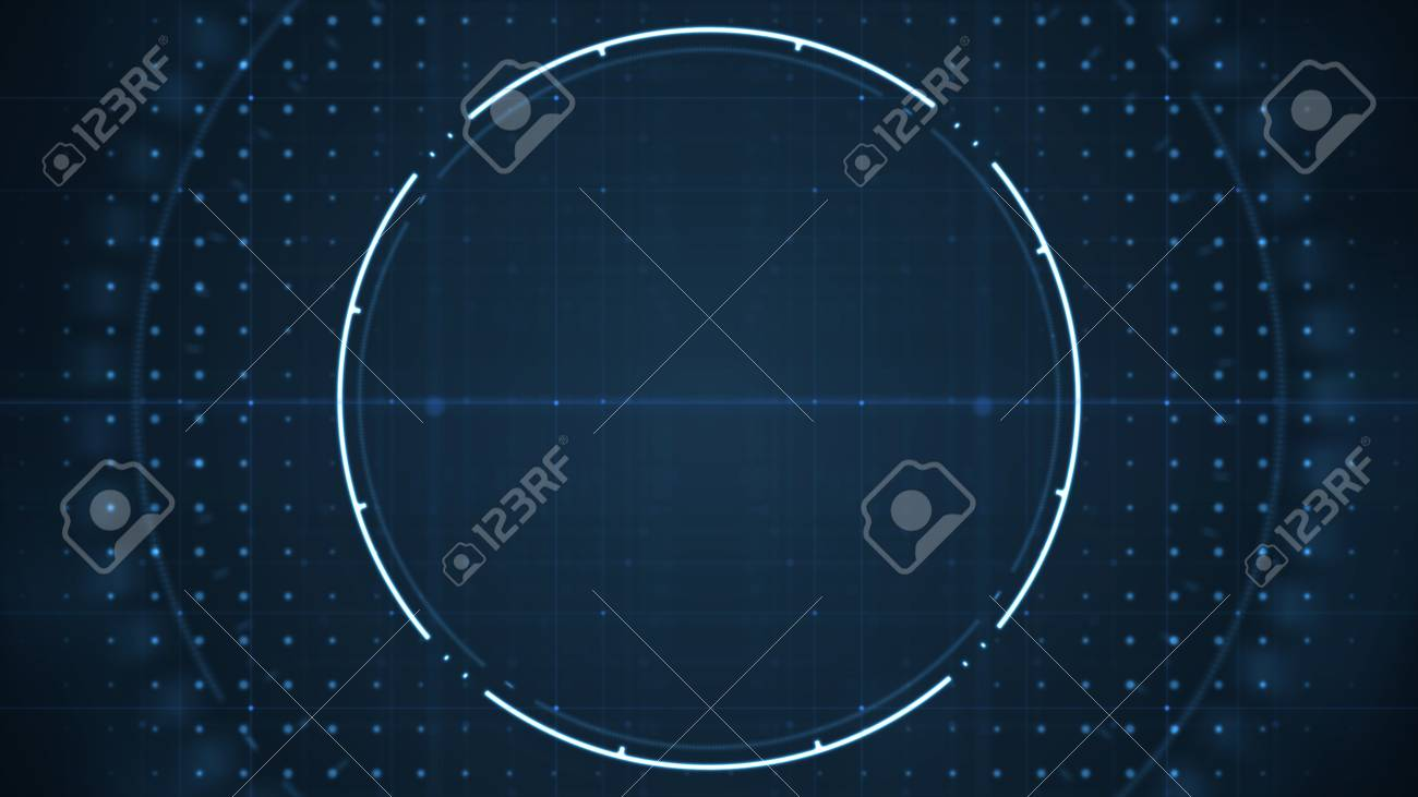 Technological future user interface hud with spinning circles on dark blue background .Technology background concept. - 120618913