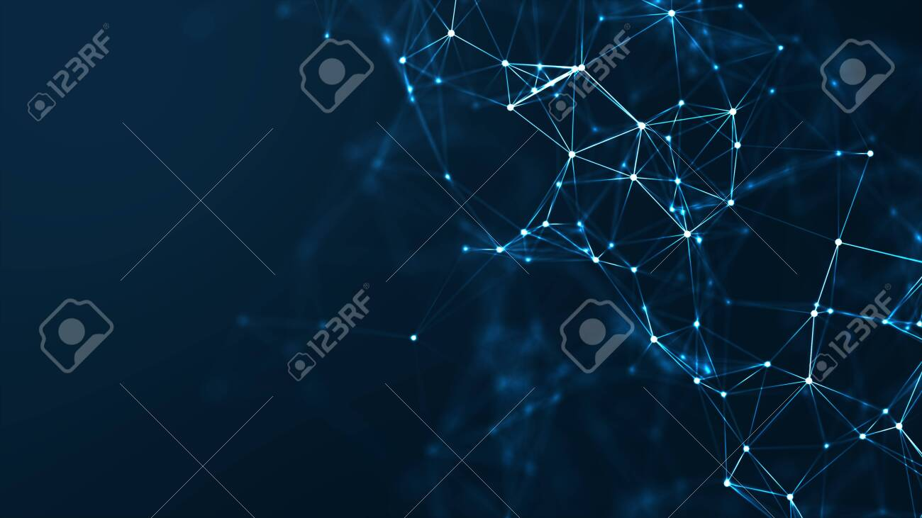 Abstract connected dots and lines on blue background. Communication and technology network concept with moving lines and dots. - 120619059