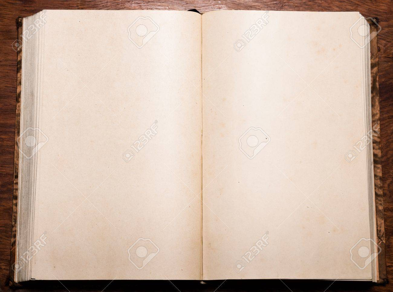 Old Antique Book Opened On Blank Pages With Small Stains And.. Stock ...