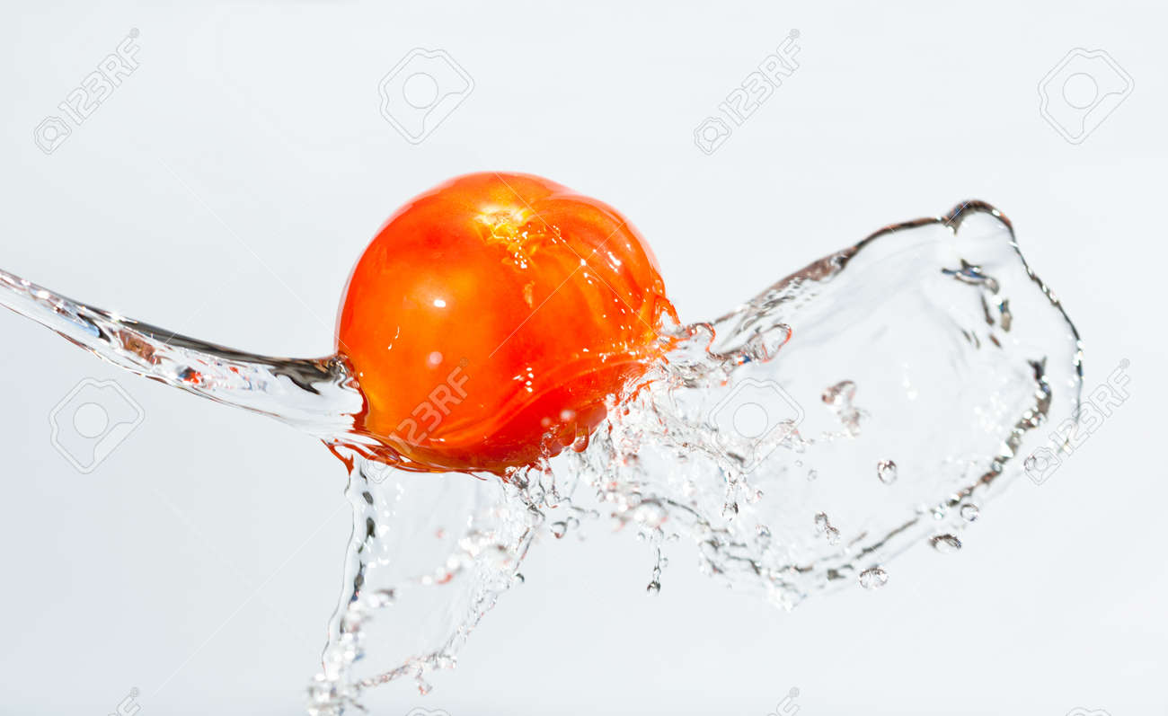 Closeup photo of red tomato in water on white background, waters splashes and drops around - 139588995