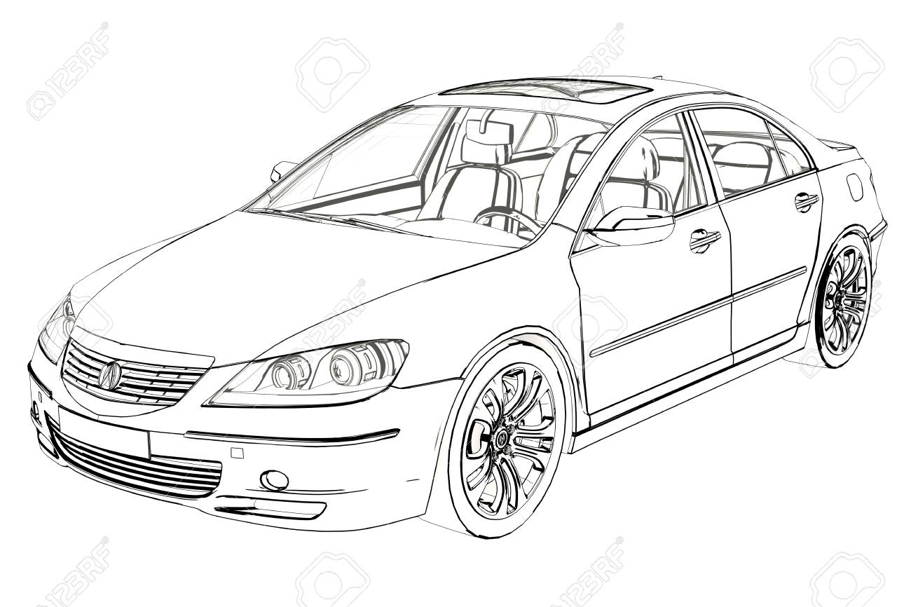 Luxury Car Acura Rl Sketch 3d Illustration Stock Photo Picture