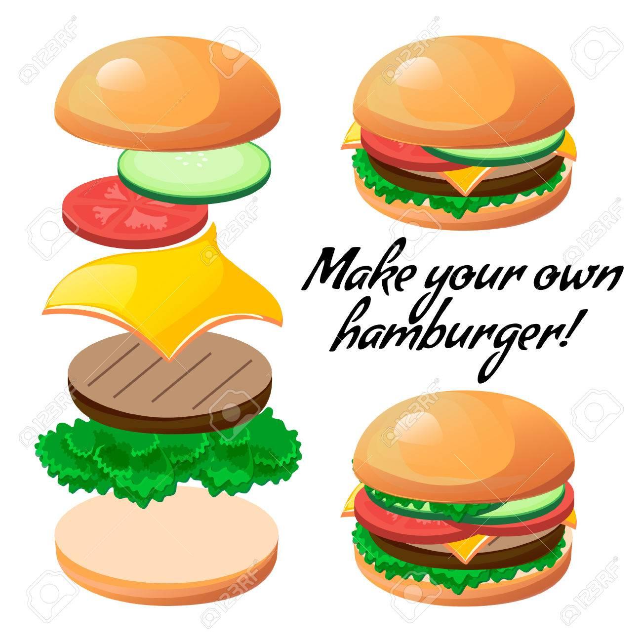 tasty vector ingredients to make a custom burger design element