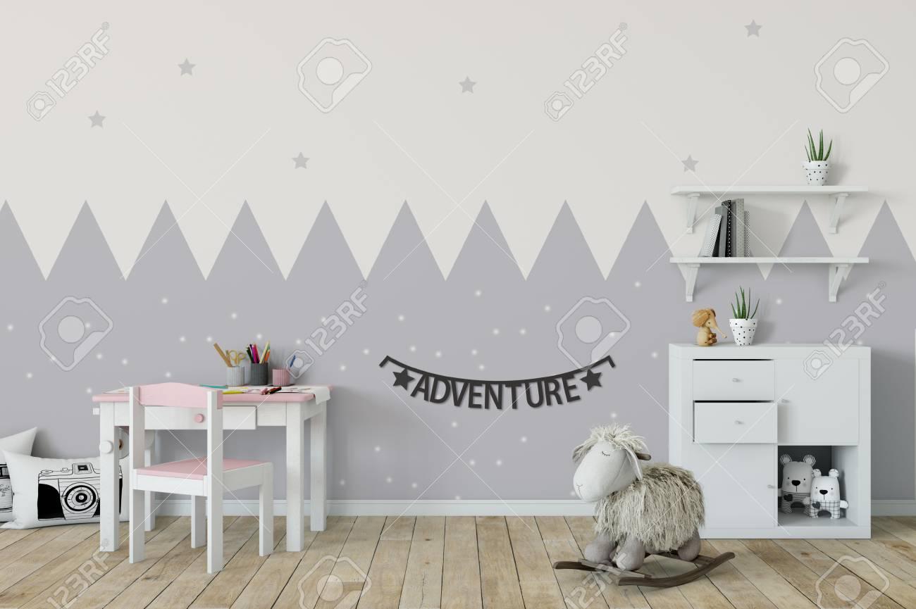 Maquette de mur dans l\'intérieur de la chambre d\'enfant. Style scandinave  intérieur. Rendu 3D, illustration 3d. Parfait pour Branding votre création  ...
