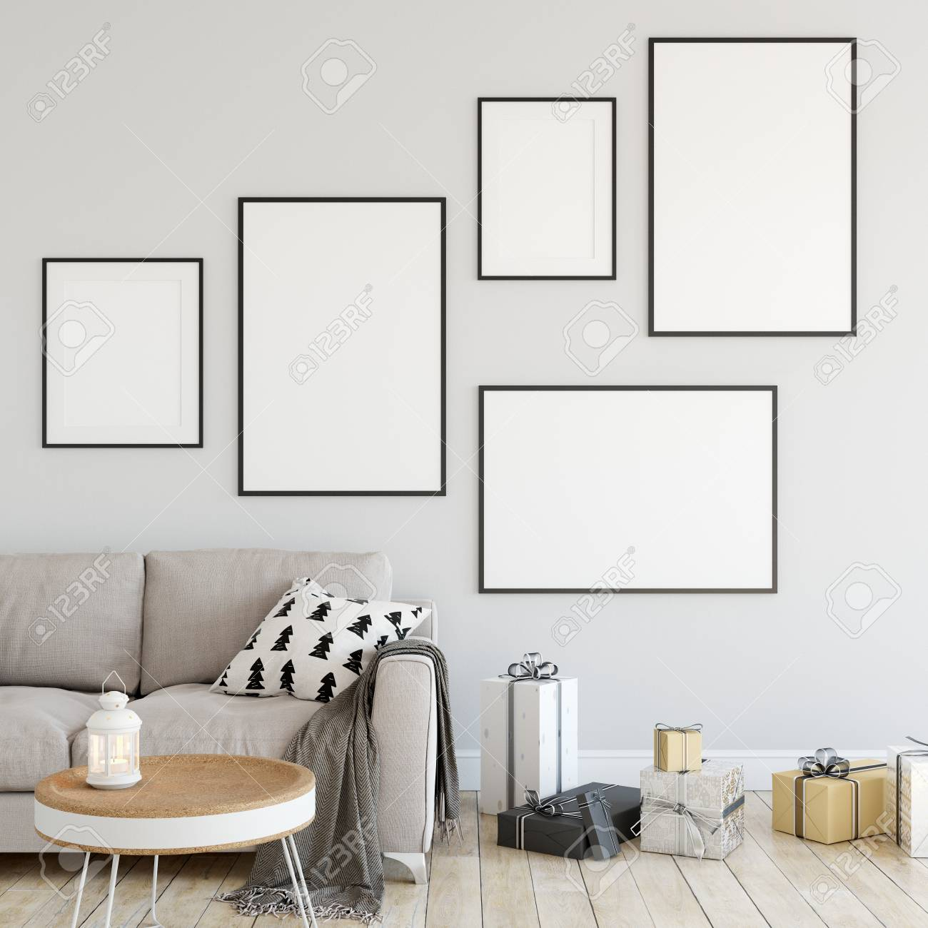 Posters Mock Up In Living Room. Interior Scandinavian Style... Stock ...