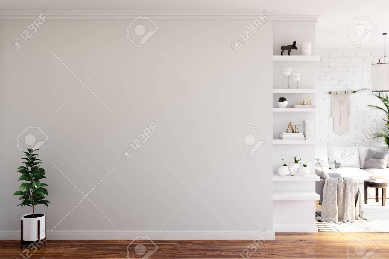 Wall mock up in living room. Scandinavian interior. 3d rendering, 3d illustration - 132604387