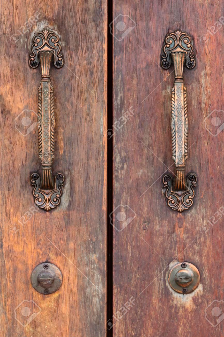 Old Wooden Door With Antique Door Handles Stock Photo Picture And