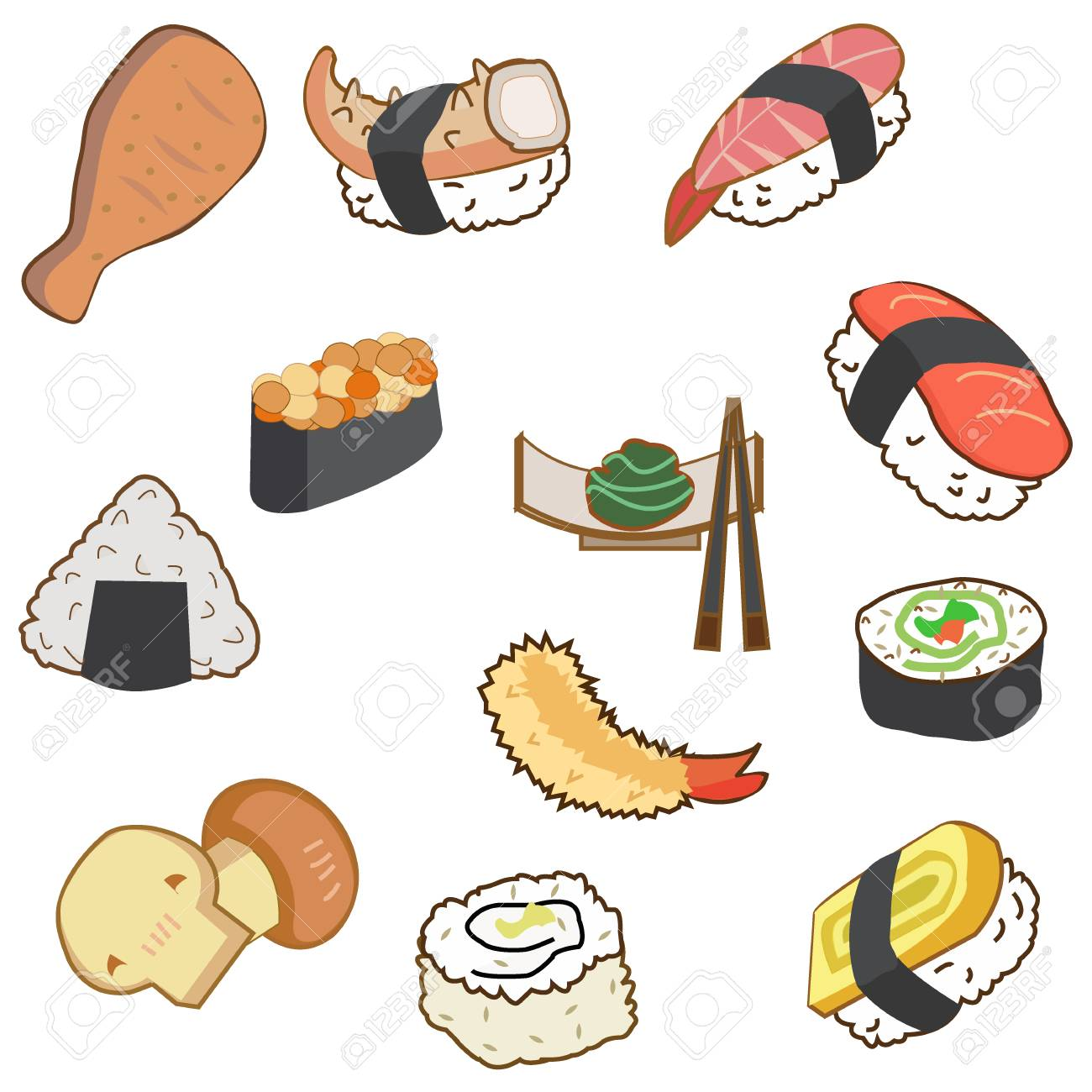 Icon Of Japan Food And Sushi In Cartoon Style On Blue Background