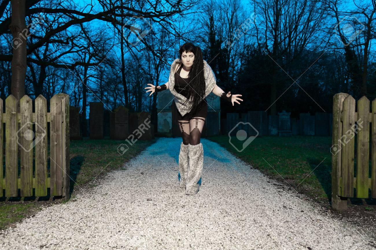 Gothic girl on cemetery Stock Photo - 17801795