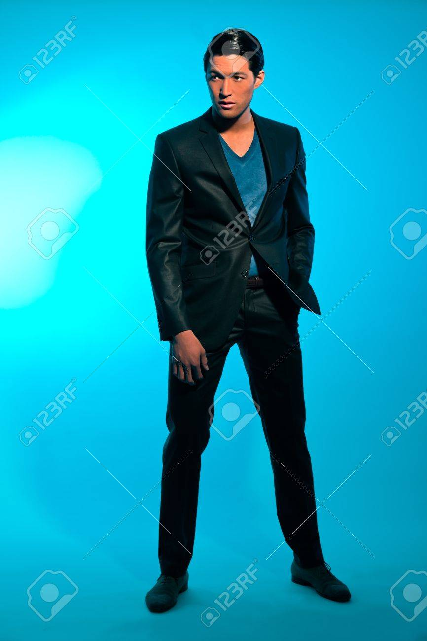 Handsome asian man in suit. Summer fashion. Studio shot. Stock Photo - 17822040