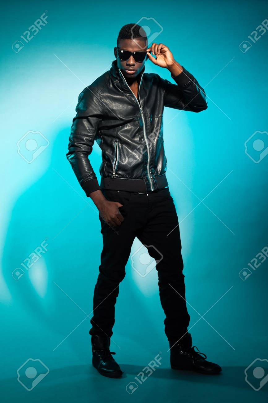 Cool urban stylish black american man. Fashion studio shot. Stock Photo - 17848007