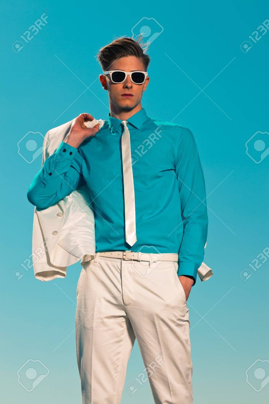 Retro fifties summer fashion man with white suit and sunglasses Stock Photo - 19879431