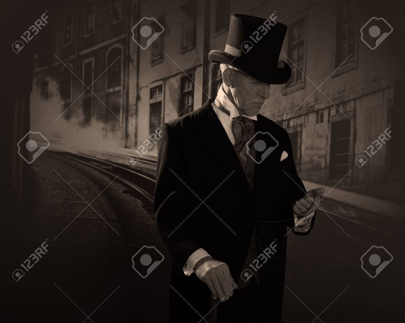 Man 1900 style wearing black hat and coat. Medicine man in Dickens style in  night