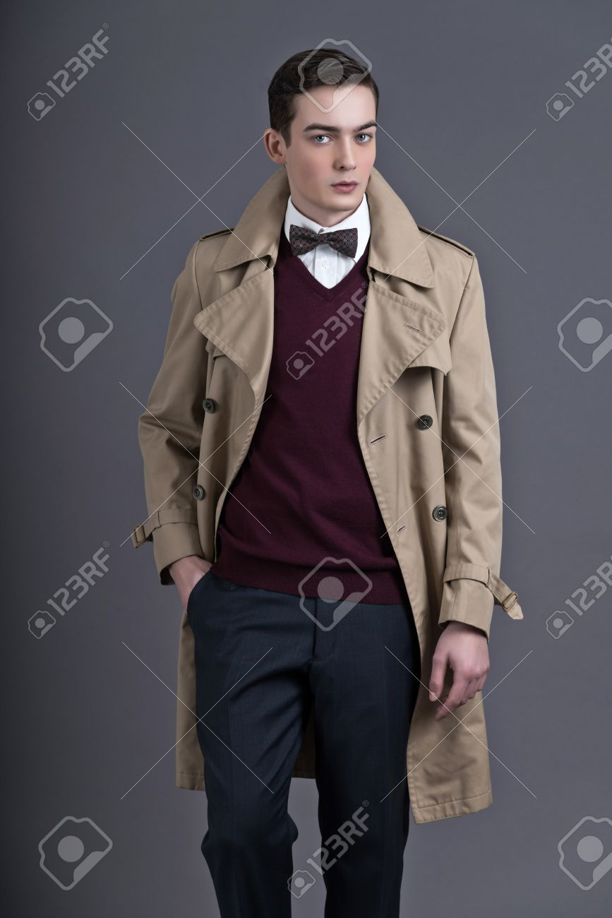 Retro Fifties English Style Fashion Young Man With Light Brown ...