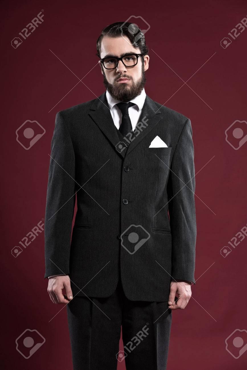 Pleasing Retro 1900 Fashion Man With Beard Wearing Grey Suit Black Tie Short Hairstyles Gunalazisus