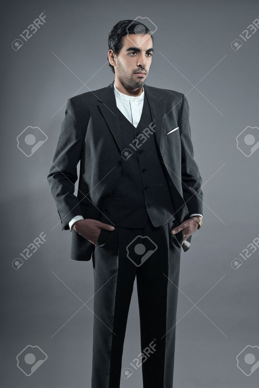 Mafia Fashion Man Wearing Grey Striped Suit. Black Hair And Brown ...