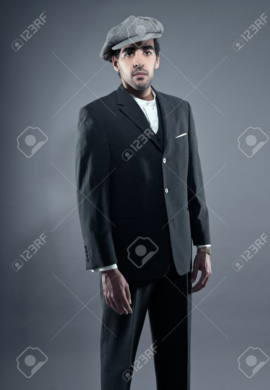 Mafia Fashion Man Wearing Grey Striped Suit With Cap. Black Hair ...