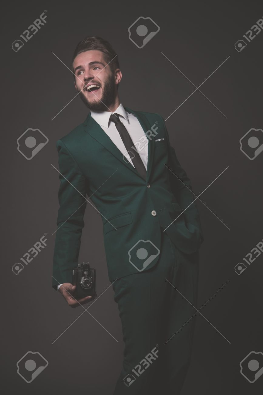Green Man Suit in White Green Suit With White