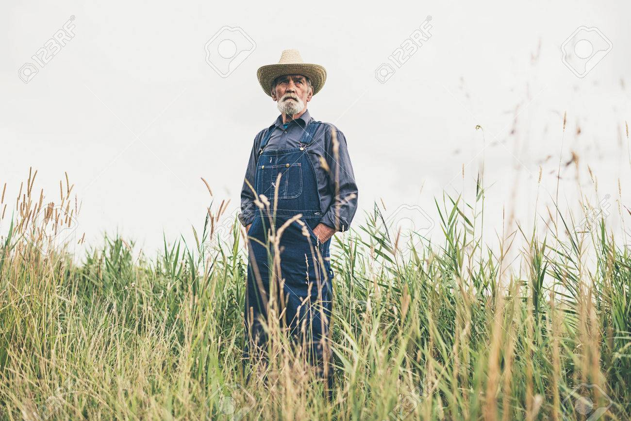 2f213c080214 Pensive Senior Male Farmer Wearing Jumpsuit And Straw Hat