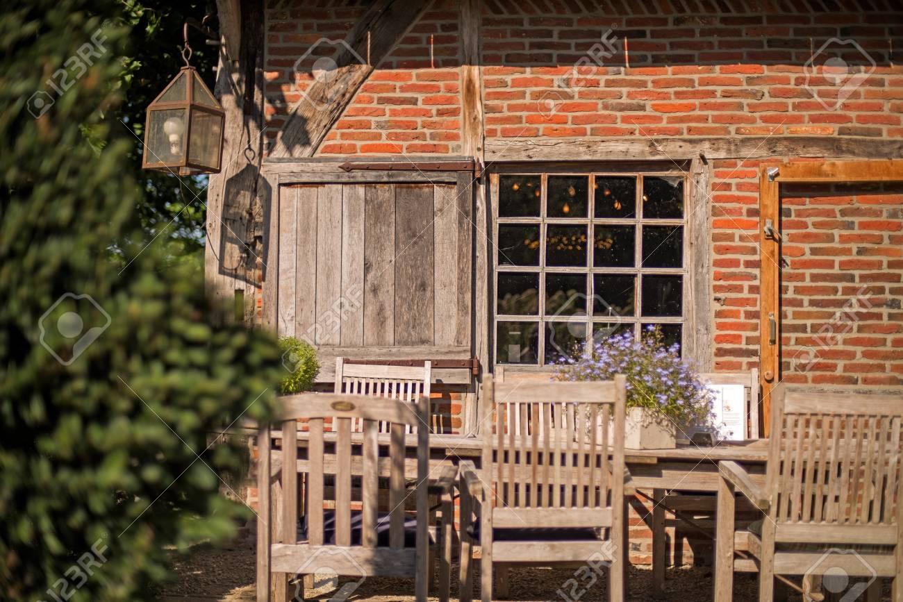 Ancient Wooden Window Of Old House With Summer Garden. Winterswijk ...