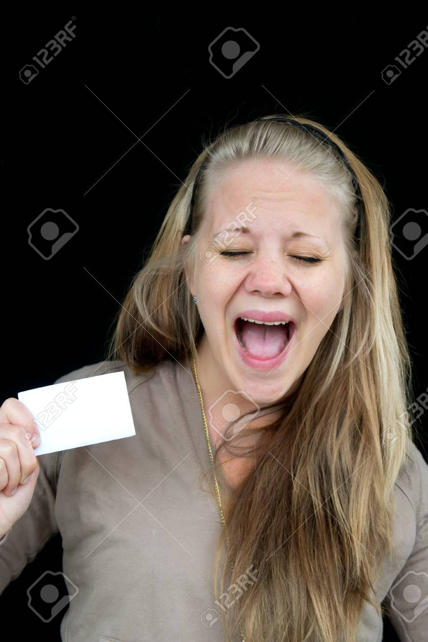 A woman screams of happiness with their eyes closed Stock Photo - 13959514