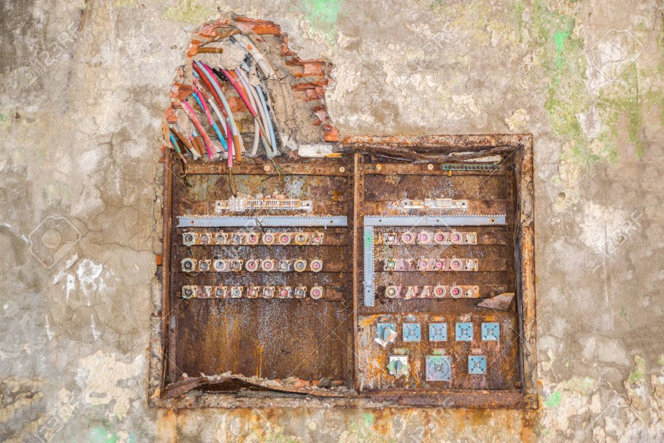 old rusty fuse box with broken dangerous wires above stock photo cracked glass texture old rusty fuse box with broken dangerous wires above stock photo 38719754