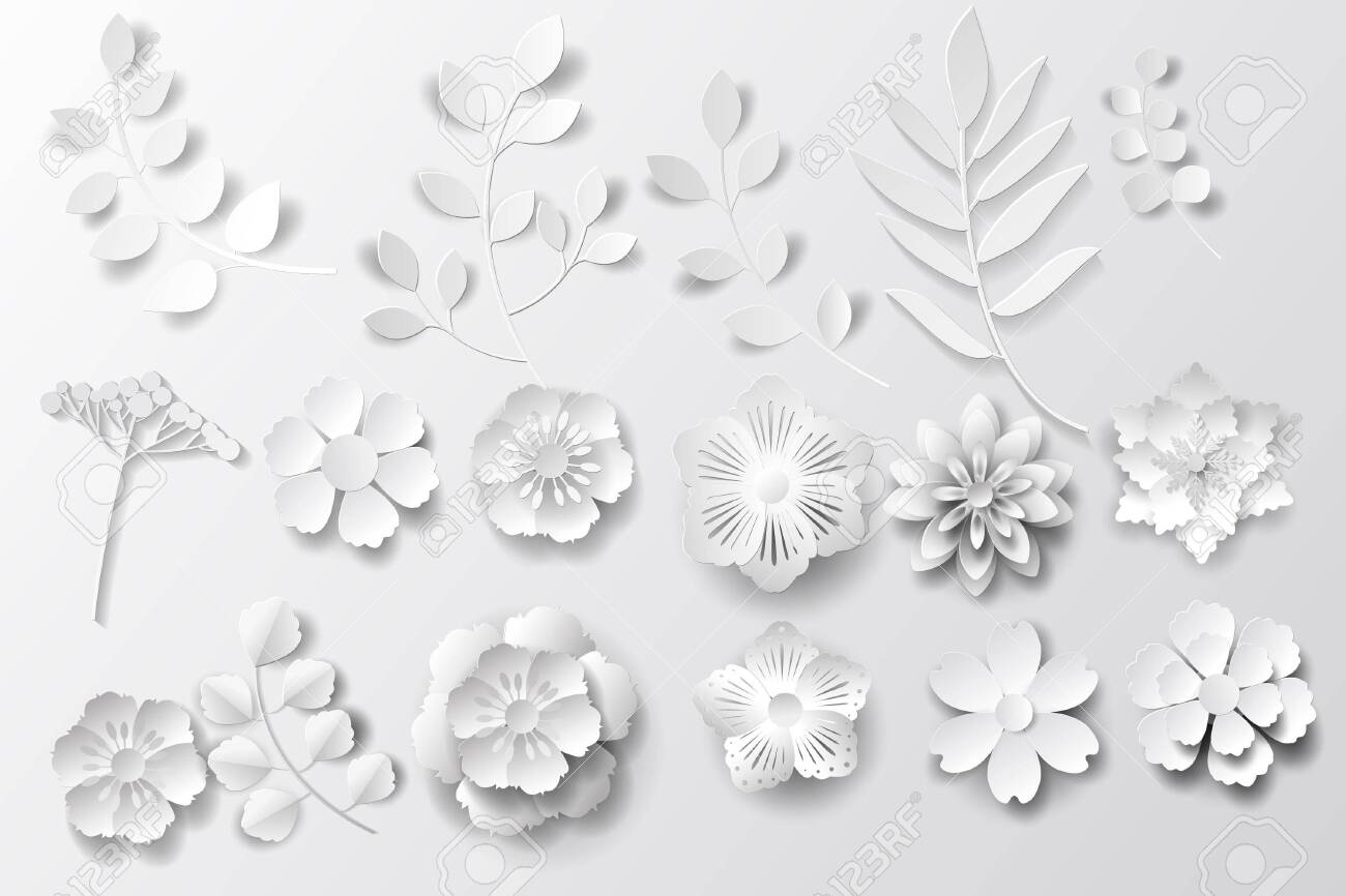 Paper art flowers background. Set - Vector stock. - 132218609