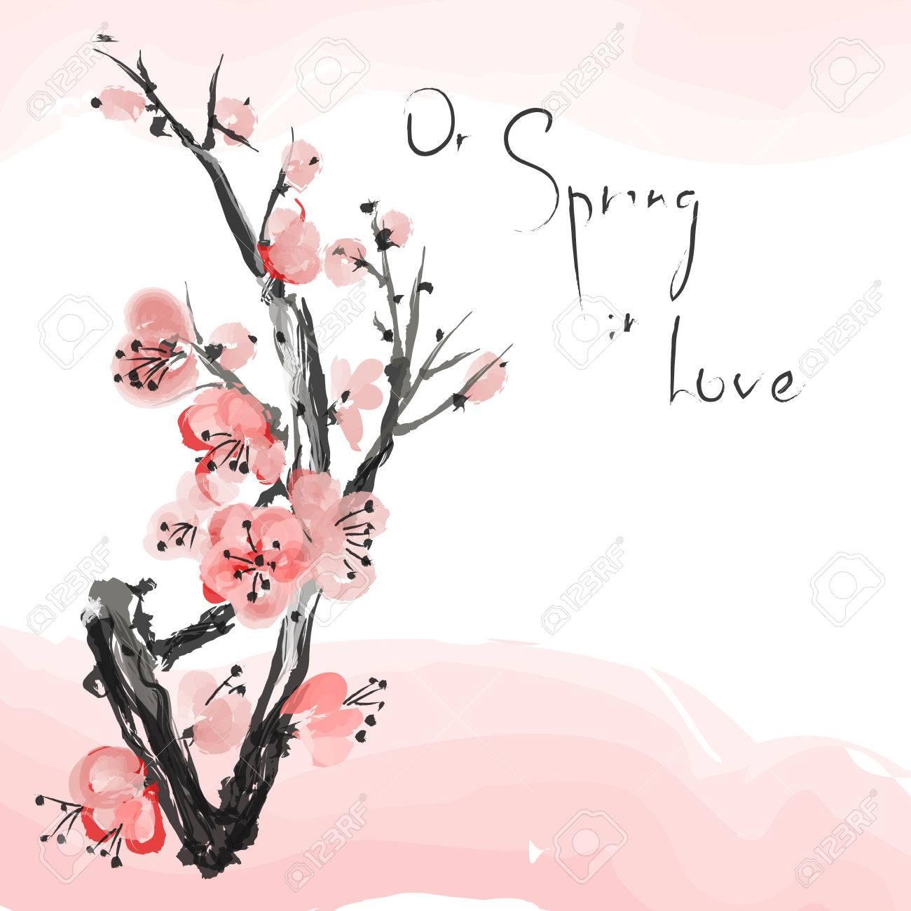 リアルな桜ピンクの背景に分離された日本の桜の木ベクトルの図の