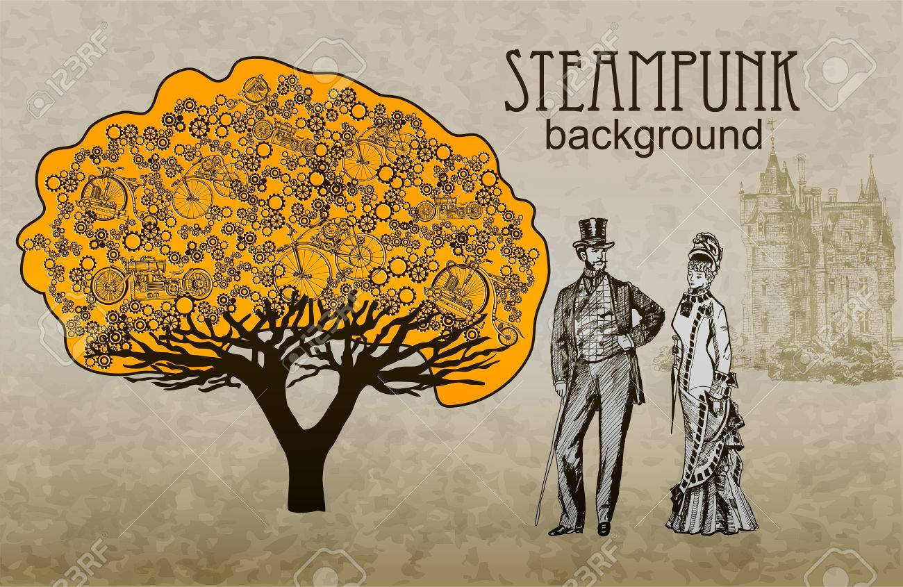 template steampunk design for card frame steampunk background
