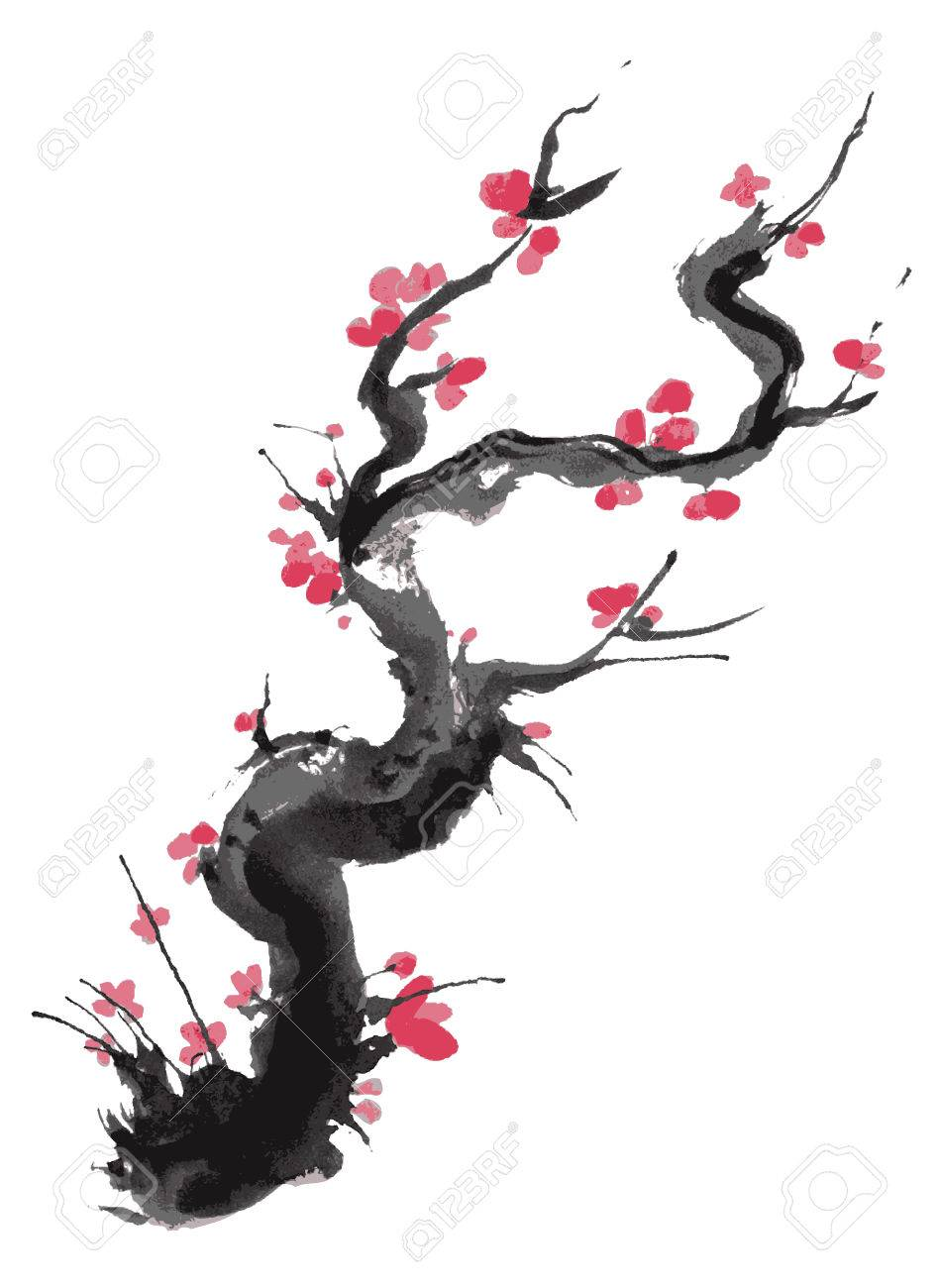 Arbol De Cerezo Japones realista flor de sakura - árbol de cerezo japonés aislado en el fondo de  color rosa. ilustración del vector.