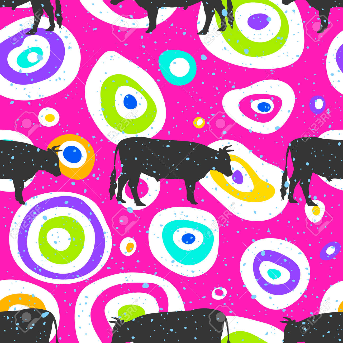 Pop art seamless pattern geometric modern with colorful acid and bull silhouette seamless pattern layout with circle spots. Illustration with set of colorful abstract circles. Vector illustration - 158853877