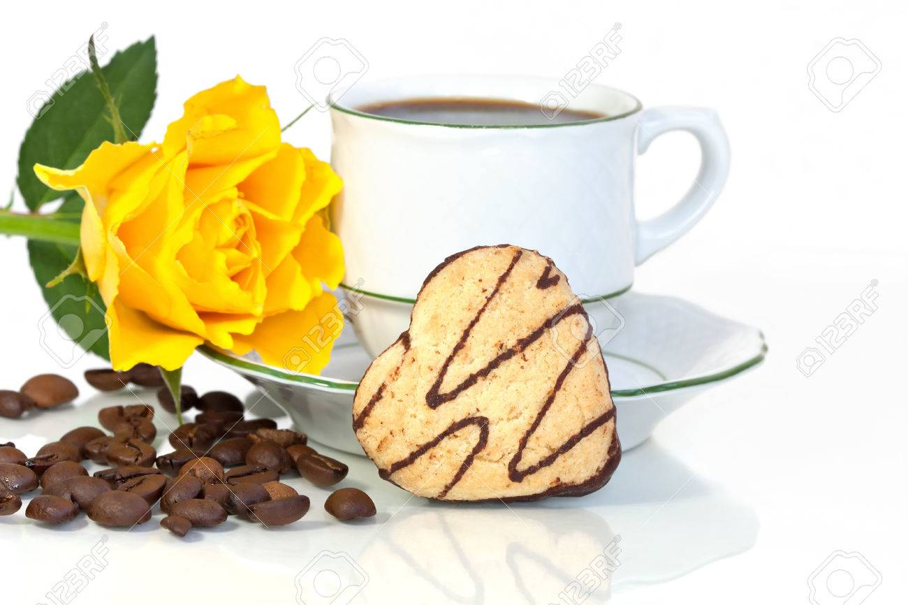 Cookie Coffee Cups A Heart Shaped Cookie Beside A Coffee Cup A Yellow Rose And