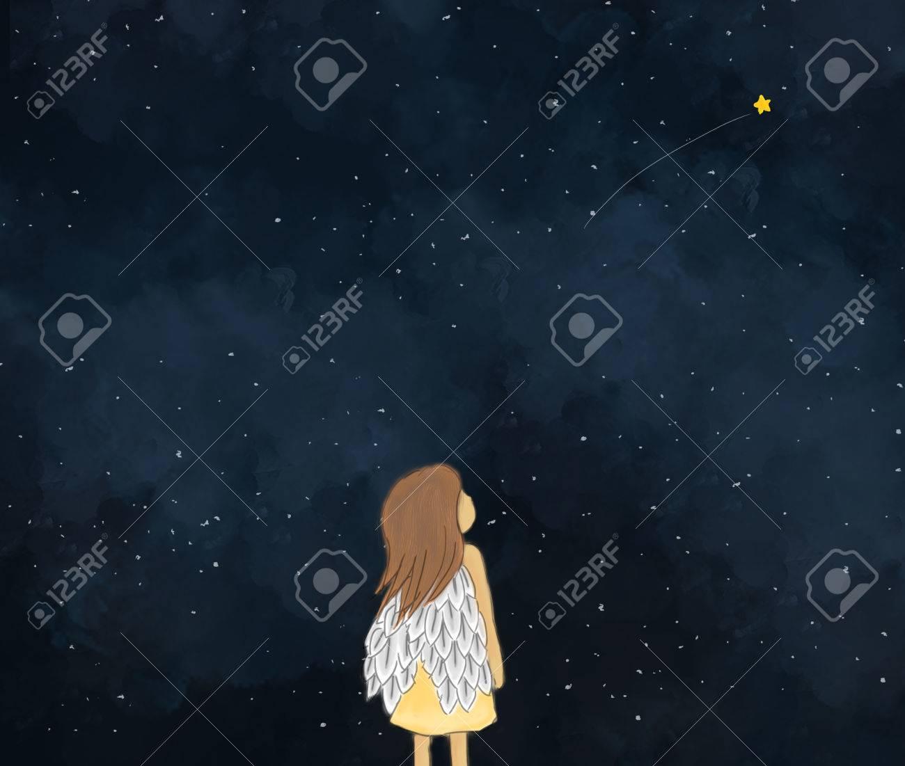Illustration Dessin D Une Petite Fille Ange Regardant L étoile Filante Dans La Nuit étoilée Ciel Nuit Nuit Fond Fond D écran Modèle De Conception