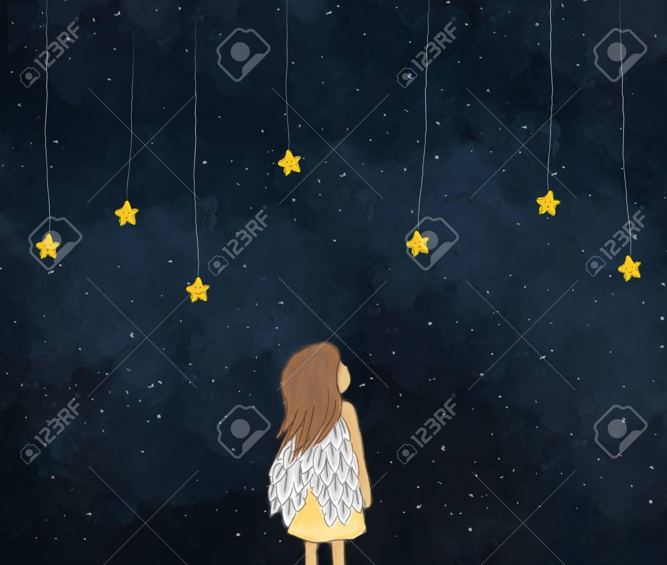 Illustration Dessin D Une Petite Fille Ange Regardant Les Etoiles Jaunes Suspendus Dans La Nuit Etoilee Joli Visage D Etoiles Conception De Modele