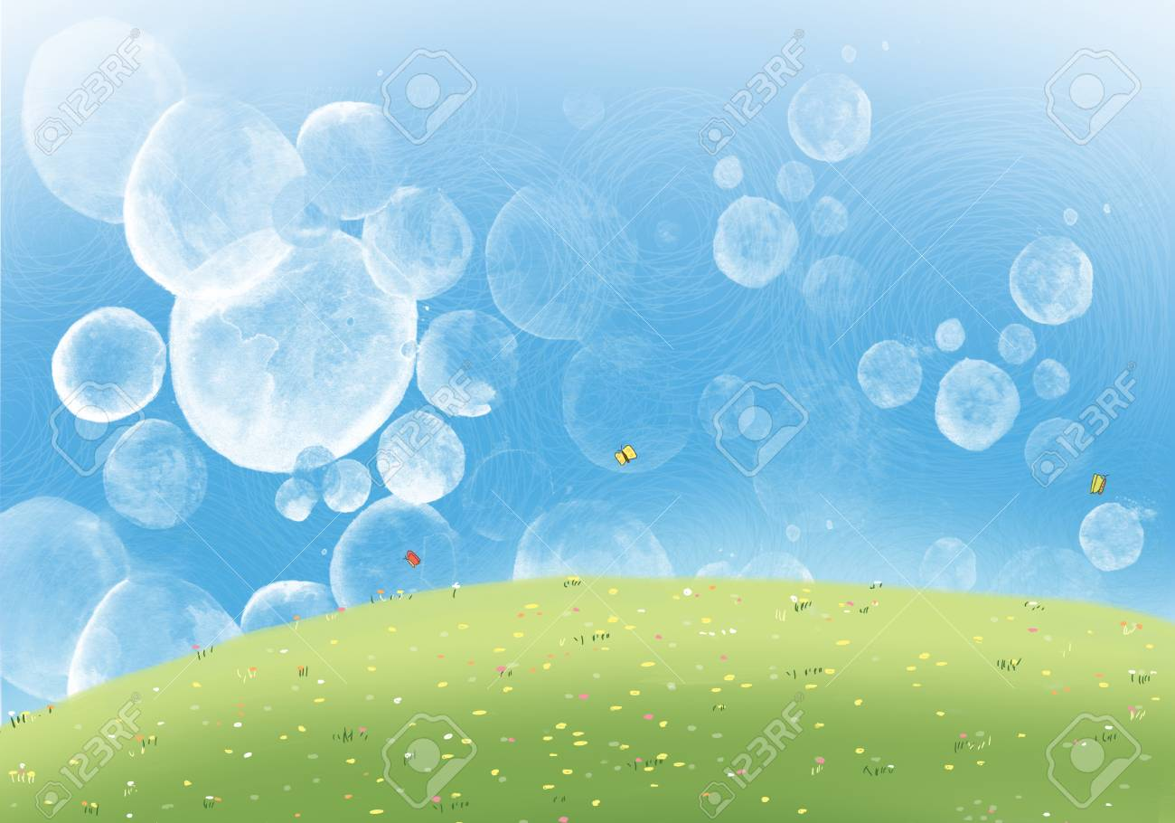 Drawing Illustration Of Bubble Blue Sky With Colorful Flowers