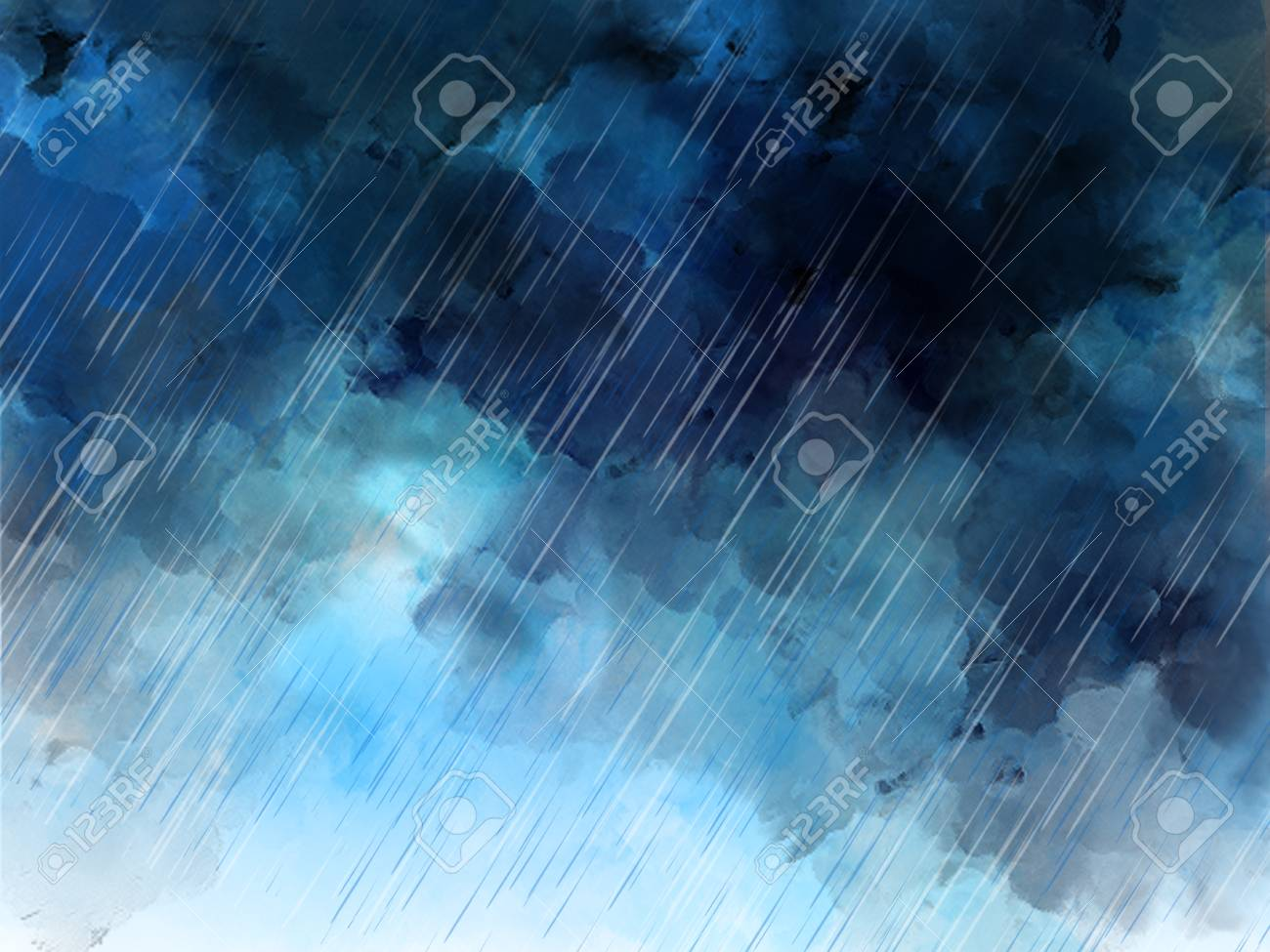 watercolor graphic illustration of heavy rain sky blue raining