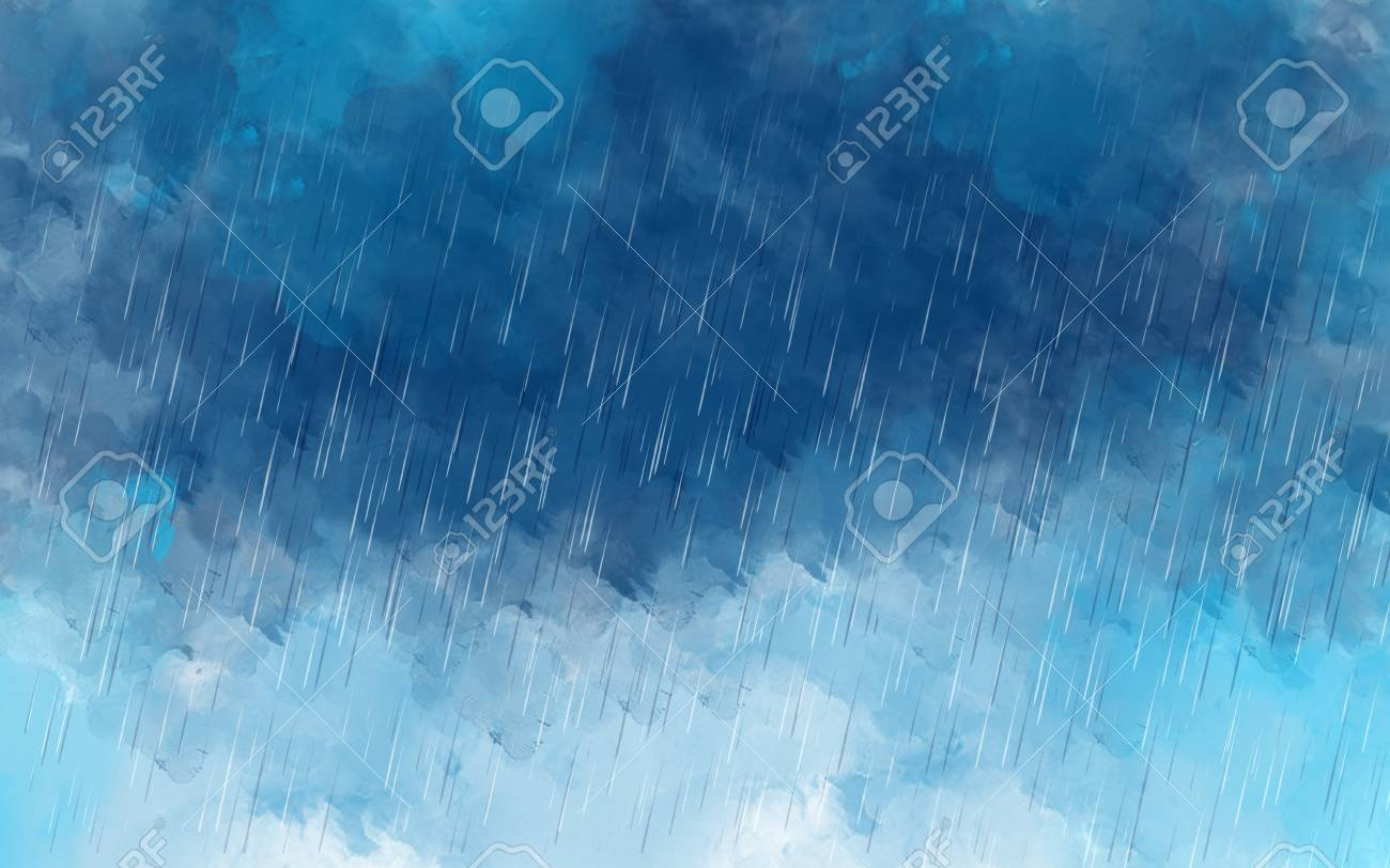 Illustration Drawing Of Raining Sky Painting Of Raindrops Over