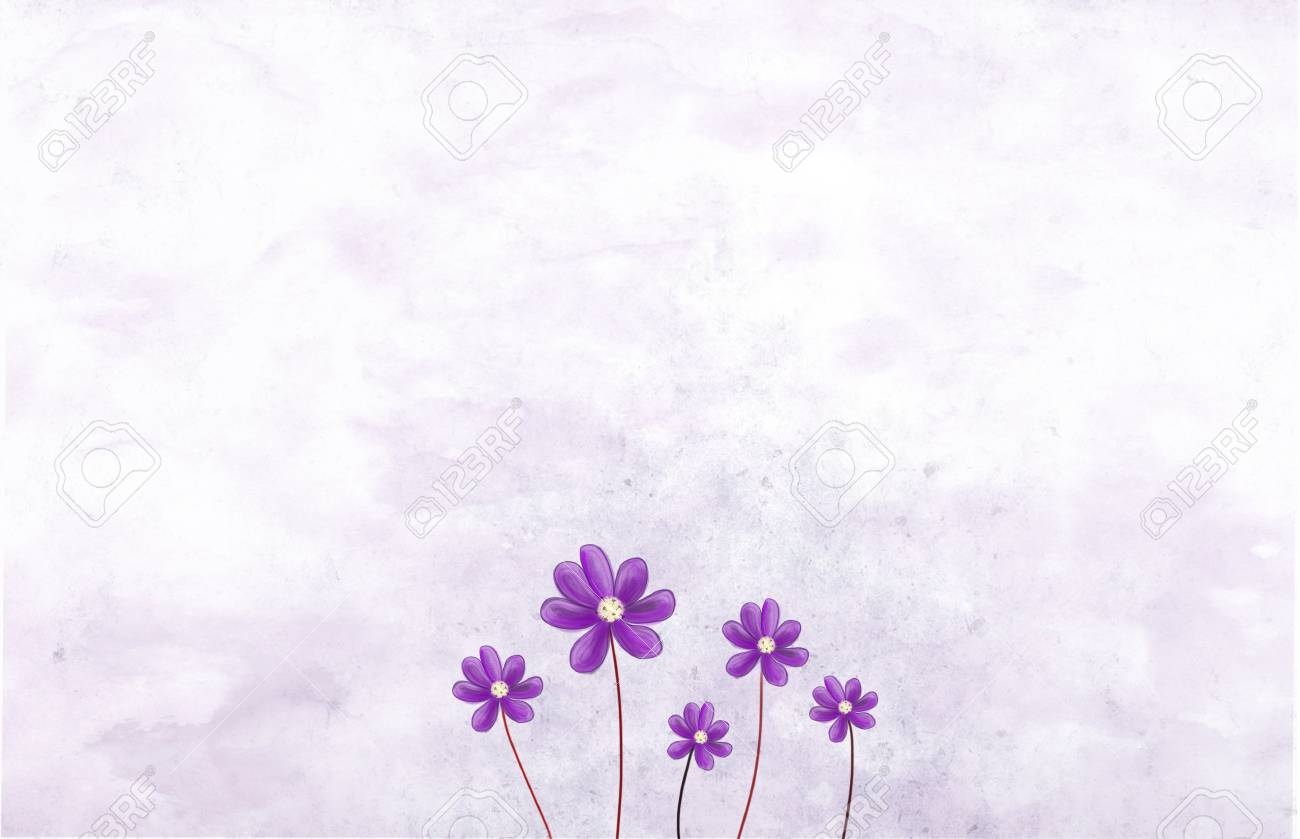 Cute Purple Flowers Over Grunge Background Romantic Romance Love Elegant Natural