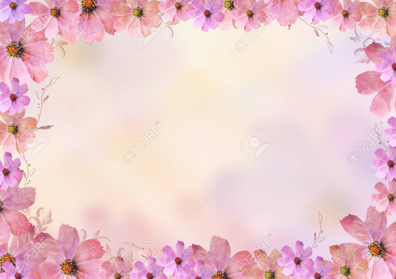 Beautiful Pink And Purple Flowers Frame Or Border Oval Blank