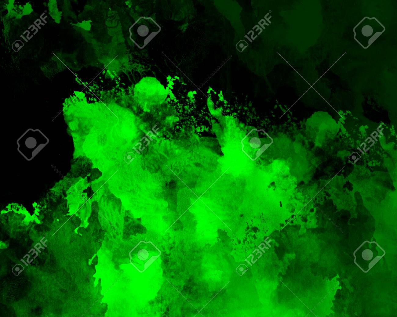 Fond Vert Grunge Aquarelle Graphique Decoration Abstraite