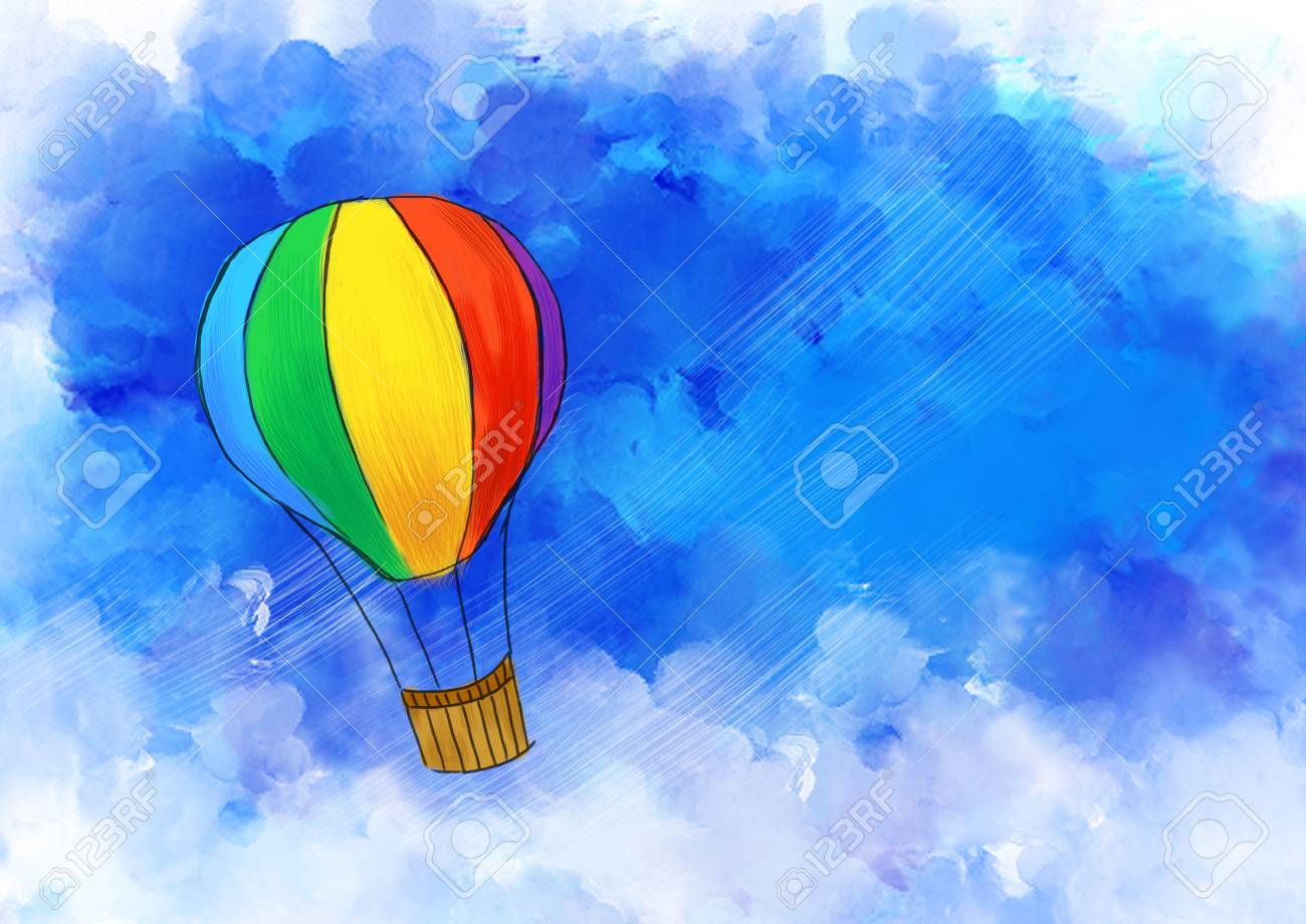 illustration graphic drawing of colorful hot air balloon flying in blue sky. Idea of freedom, travel, art, vacation, happy, journey, imagination, fun & adventure template design wallpaper background - 86365193