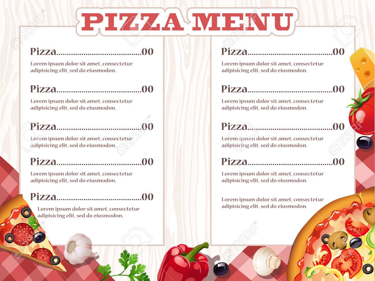 pizza restaurant menu template with ingredients vector illustration