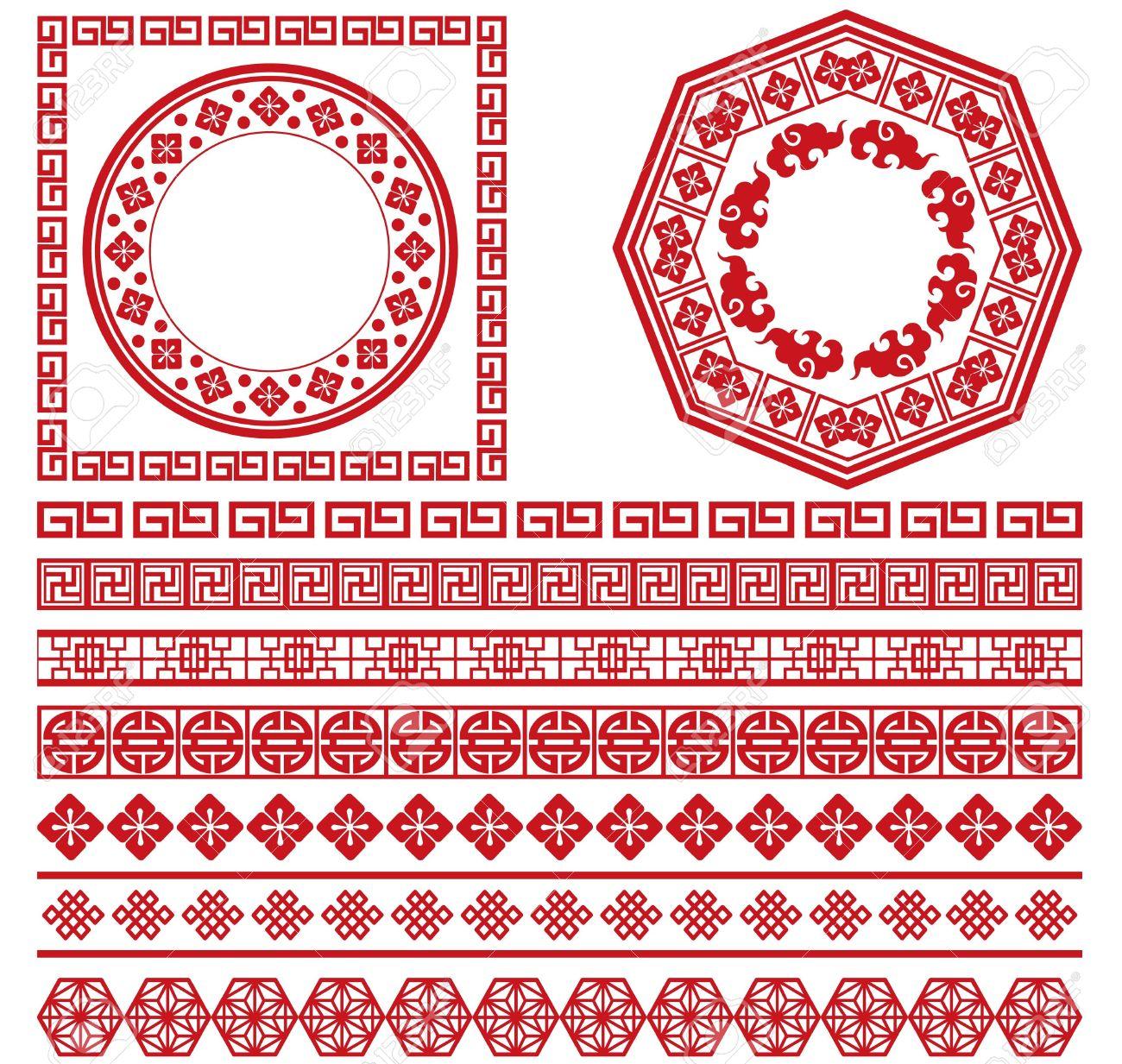 Conjunto De La Colección China Marco Decorativo Ilustraciones ...