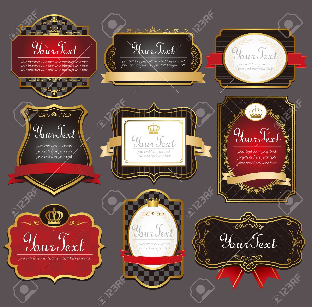 1408e7ce91f Vector Set Black Gold-framed Labels Royalty Free Cliparts