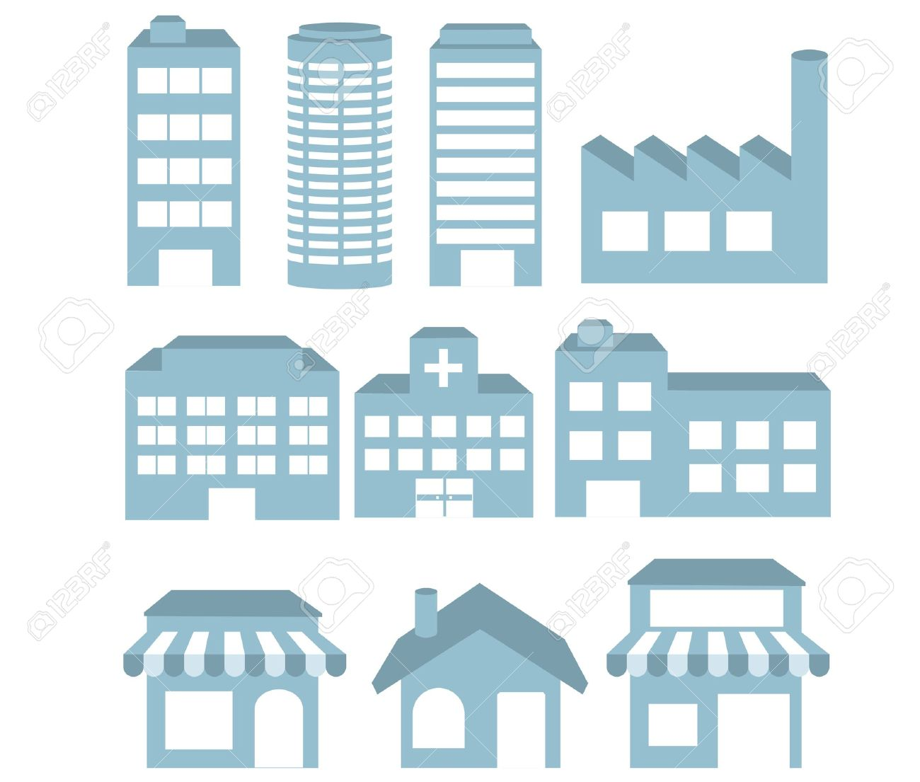 Illustration - Building icons set  Architectures image  vector Stock Vector - 12483169