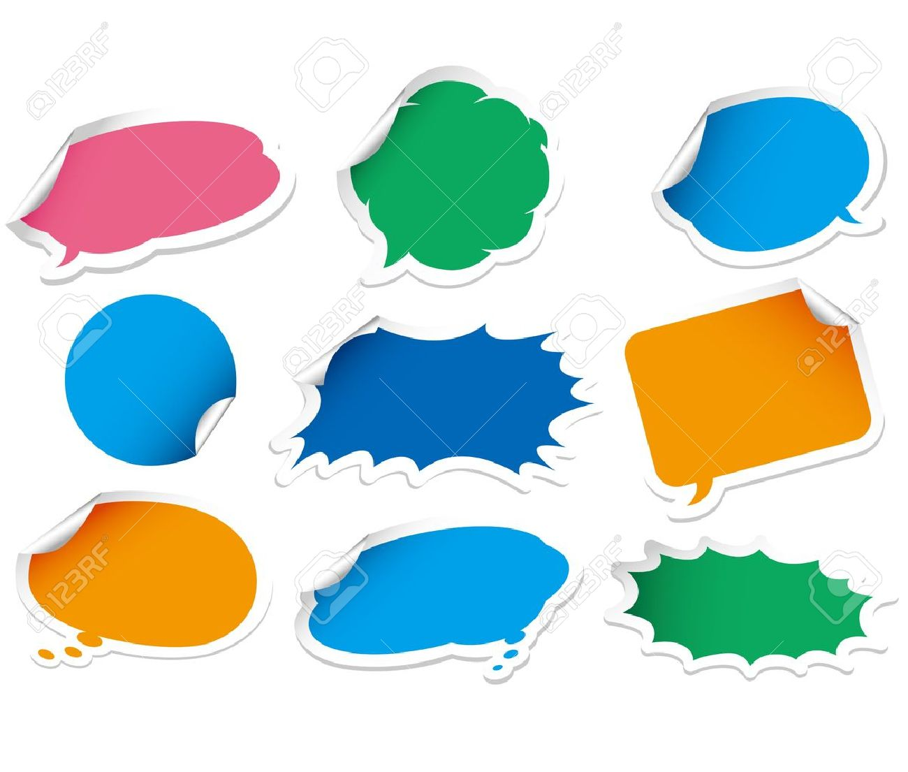vector speech bubble sticker set royalty free cliparts vectors