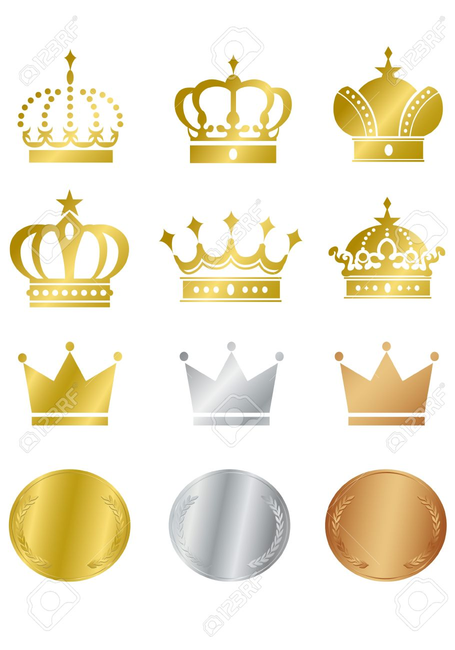 Gold Crown Icons Set Illustration Royalty Free Cliparts, Vectors ...