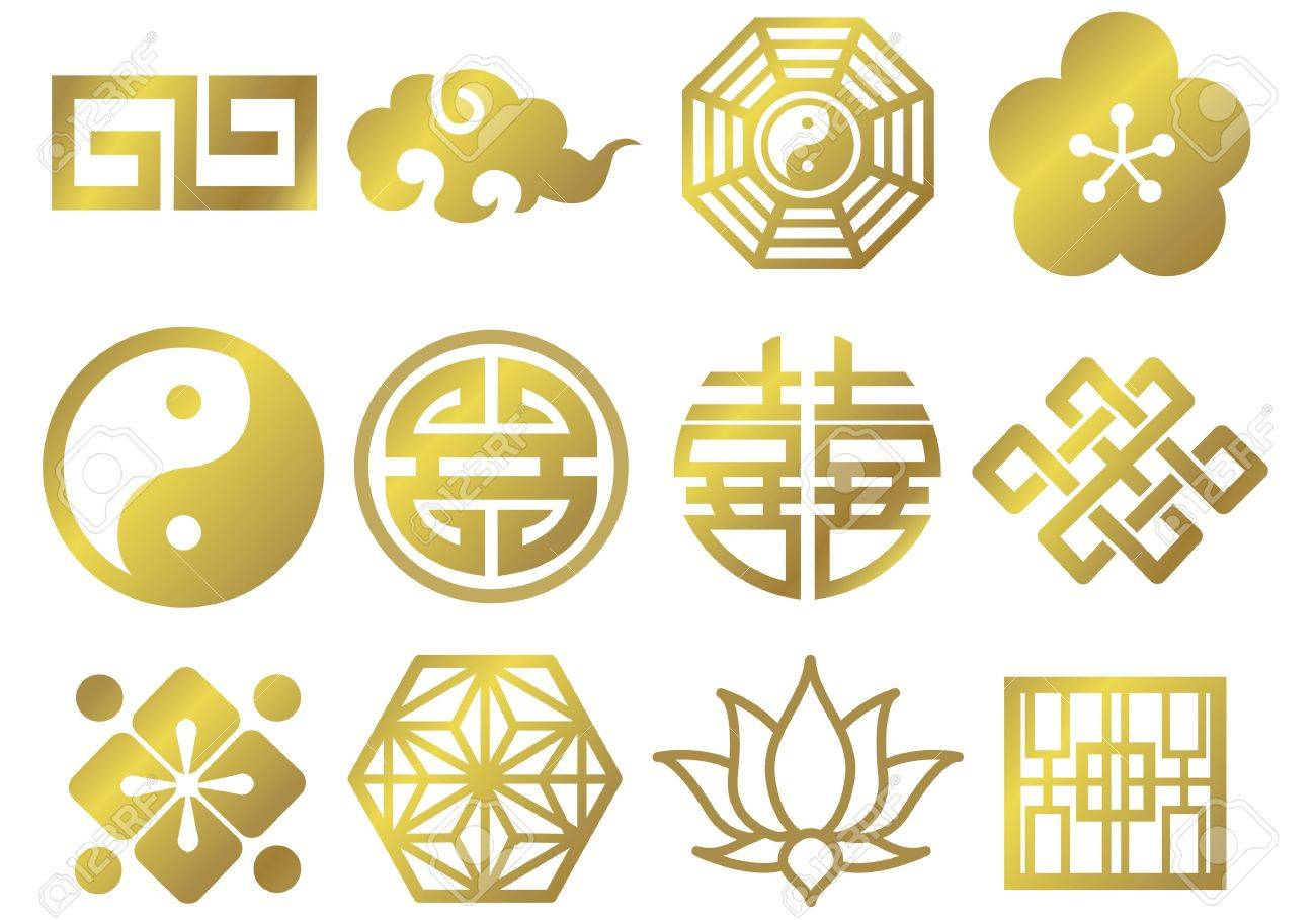 chinese asian japanese decorative icons Stock Vector - 13076332