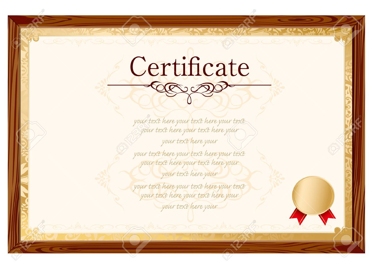Retro Frame Certificate Template Vector Royalty Free Cliparts